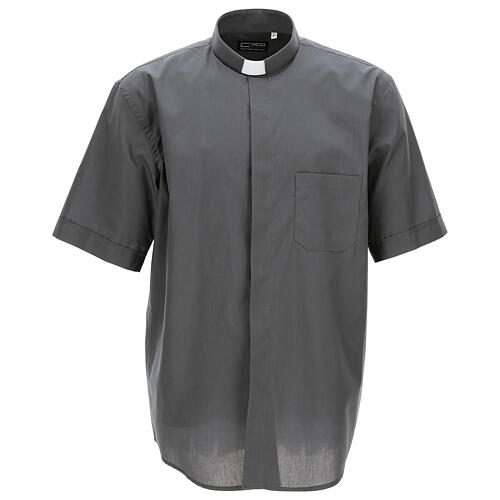 Camisa clergyman gris oscuro de un solo color manga corta 1