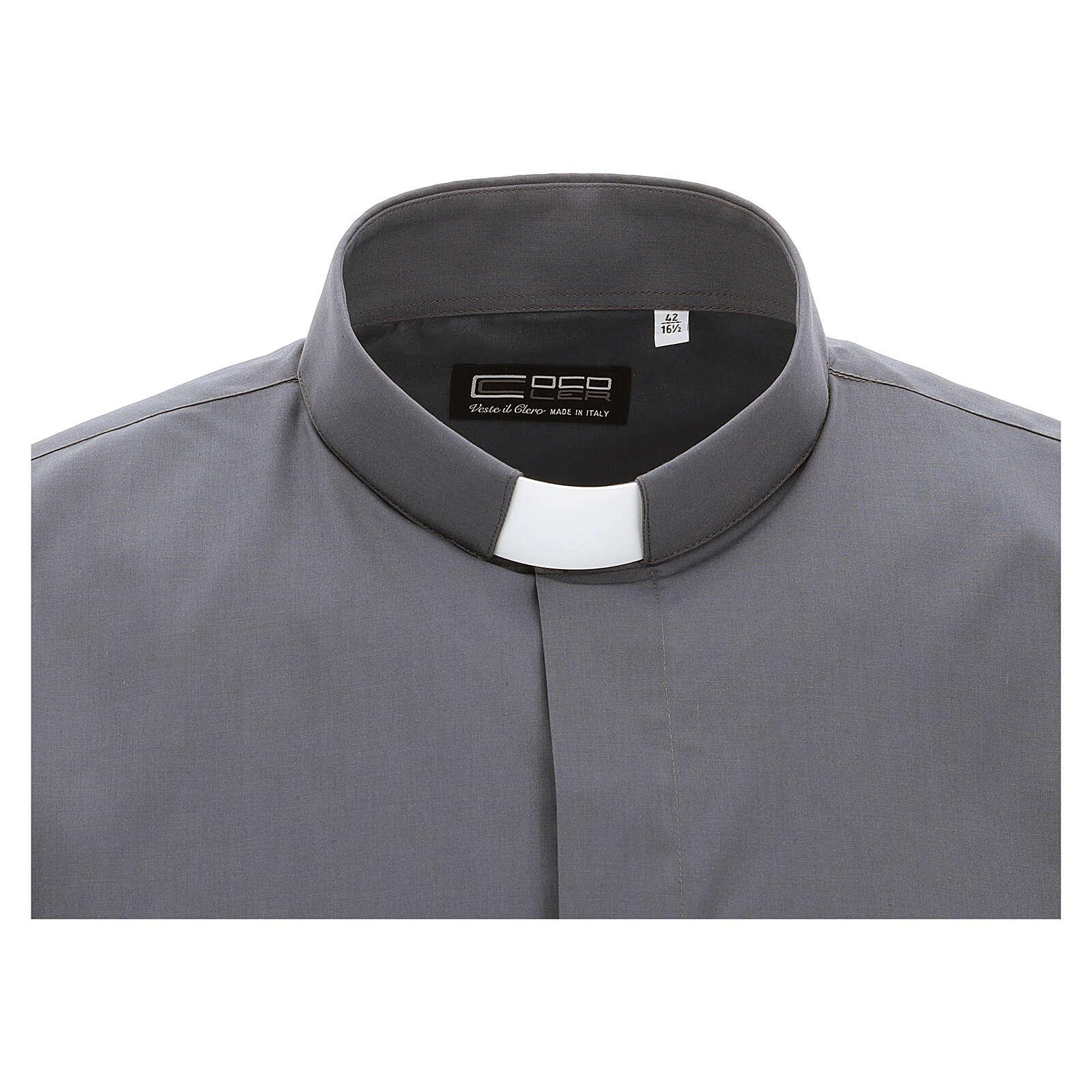 Chemise clergy gris foncé uni manches courtes 4