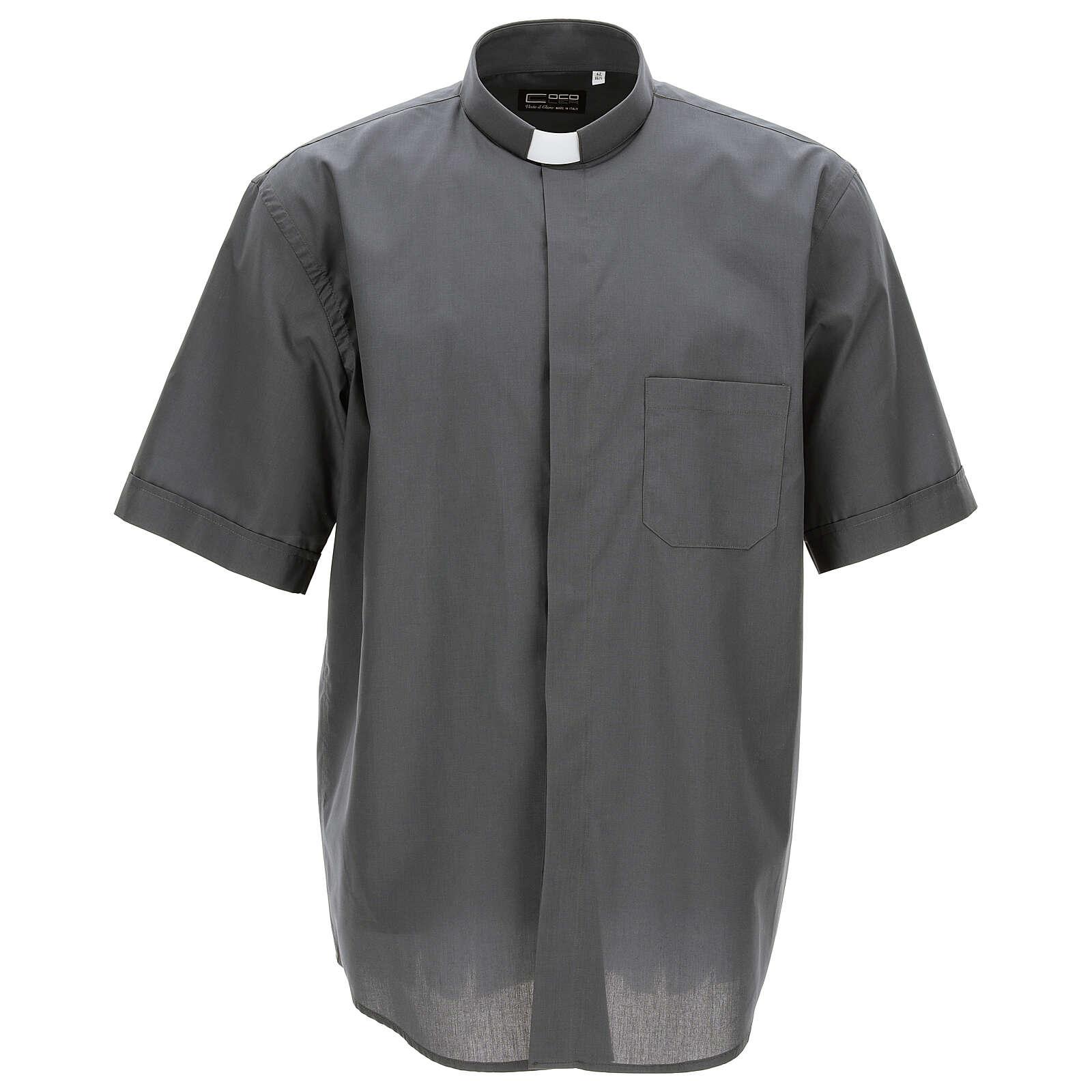 Camicia clergyman grigio scuro tinta unita manica corta 4