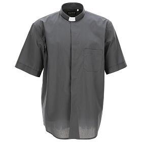 Camicia clergyman grigio scuro tinta unita manica corta s1