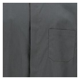 Camicia clergyman grigio scuro tinta unita manica corta s2
