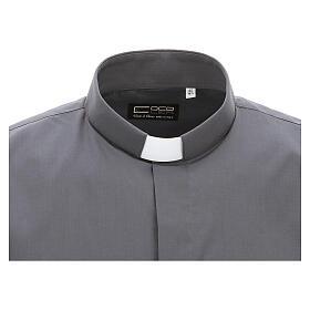 Camicia clergyman grigio scuro tinta unita manica corta s3