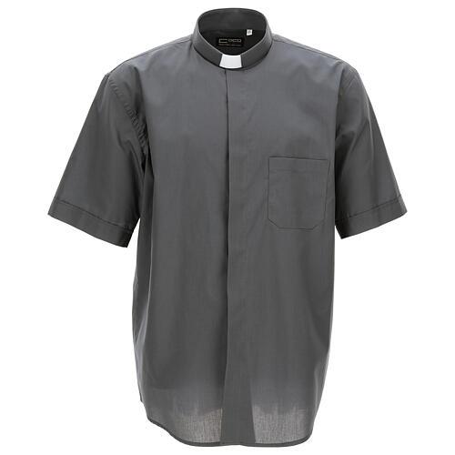 Camicia clergyman grigio scuro tinta unita manica corta 1
