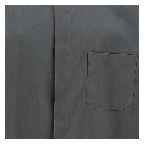 Camicia clergyman grigio scuro tinta unita manica corta 2