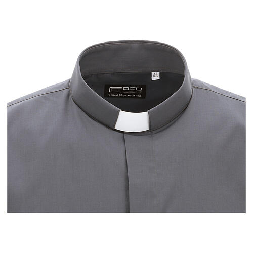 Camicia clergyman grigio scuro tinta unita manica corta 3