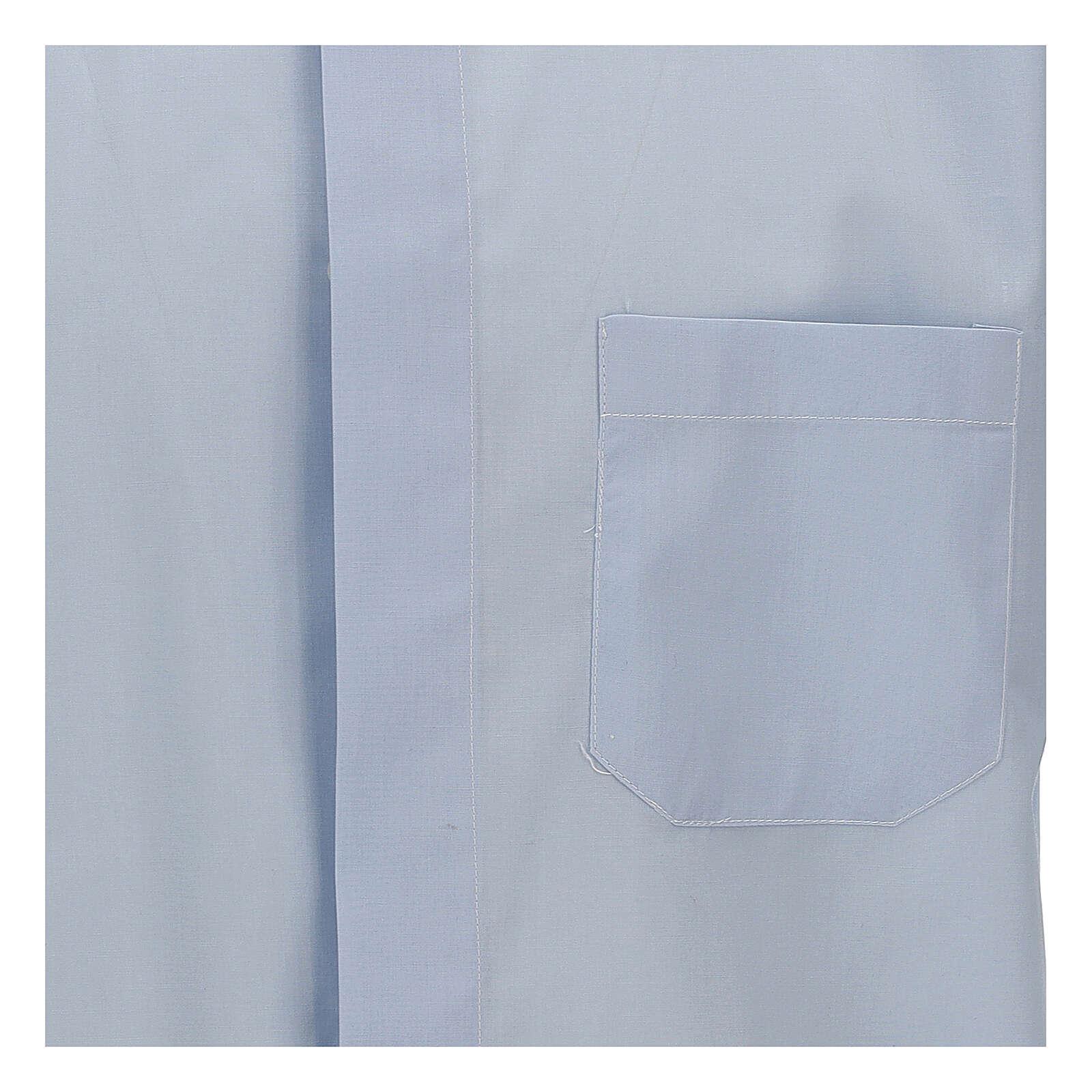 Camisa clergy celeste de un solo color manga corta 4