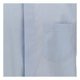 Camisa clergy celeste de un solo color manga corta s2