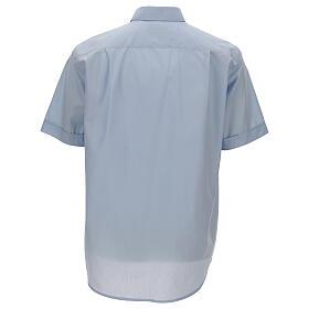 Camisa clergy celeste de un solo color manga corta s4