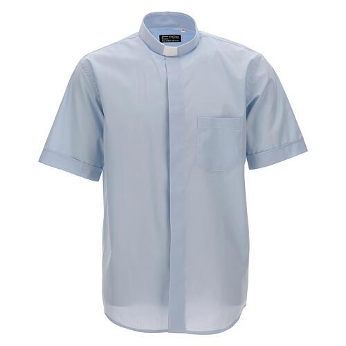 Camisa clergy celeste de un solo color manga corta 1
