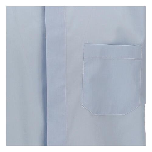 Camisa clergy celeste de un solo color manga corta 2