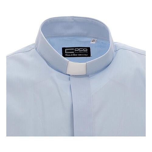 Camisa clergy celeste de un solo color manga corta 3