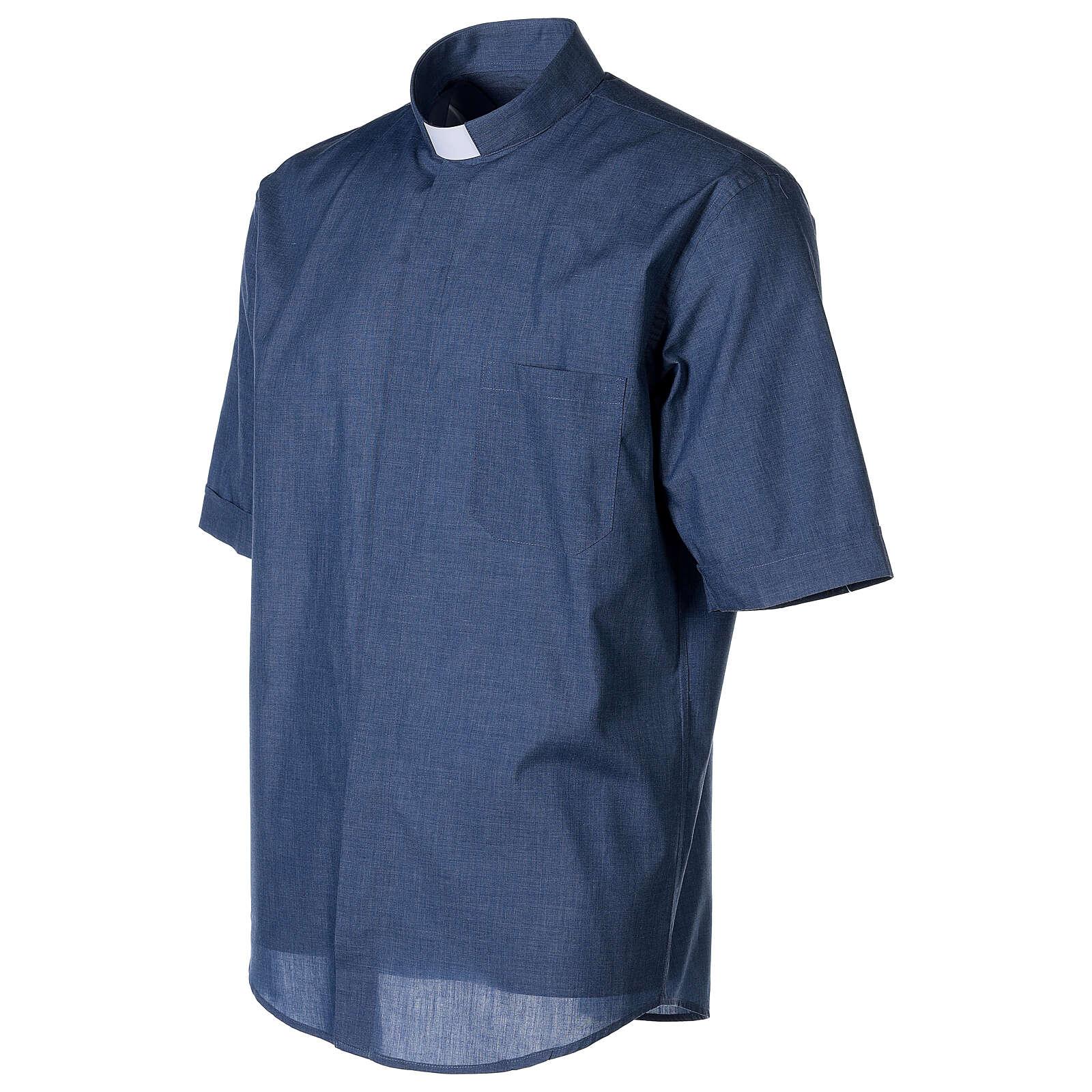 Camisa cuello clergy media manga de jean 4