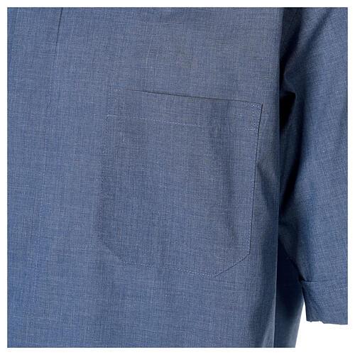 Camisa cuello clergy media manga de jean 2