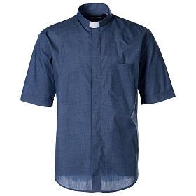 Camicia collo clergy mezza manica jeansato s1