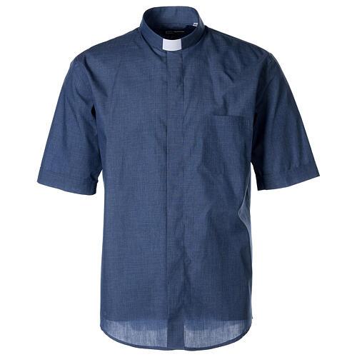 Camicia collo clergy mezza manica jeansato 1