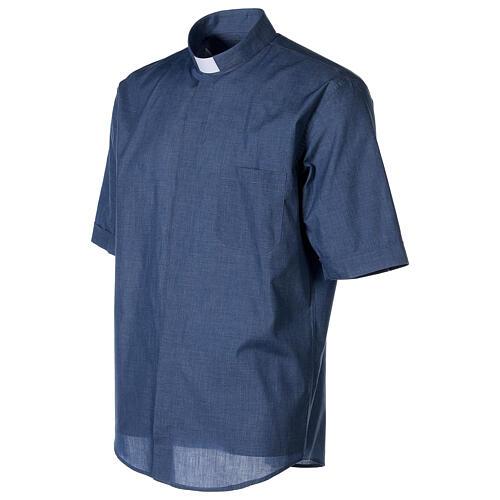 Camicia collo clergy mezza manica jeansato 3