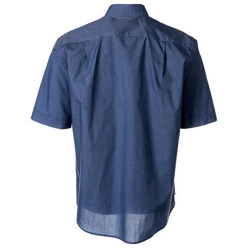 Camicia collo clergy mezza manica jeansato 4