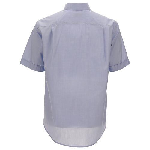 Camisa cuello clergy celeste manga corta 4