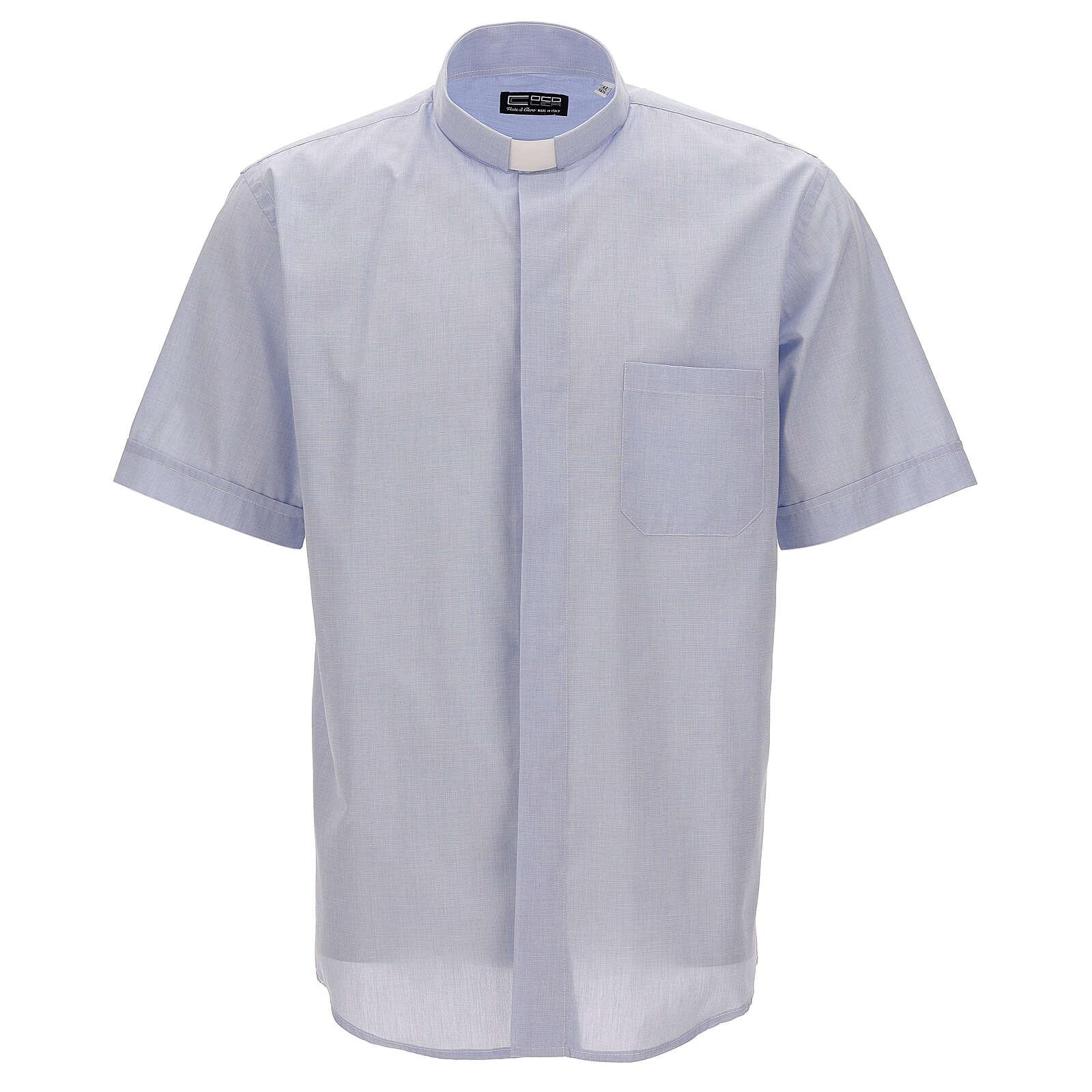 Camicia collo clergy celeste fil a fil mezza manica 4