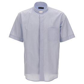 Camicia collo clergy celeste fil a fil mezza manica s1