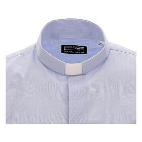 Camicia collo clergy celeste fil a fil mezza manica s2