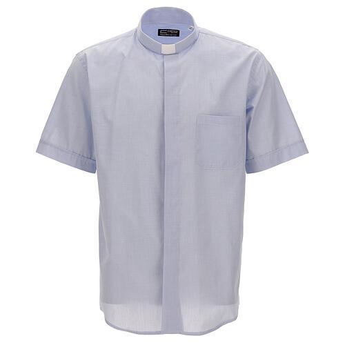 Camicia collo clergy celeste fil a fil mezza manica 1