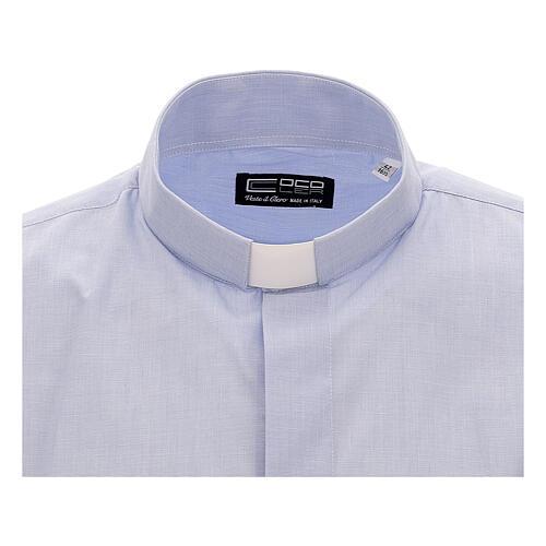 Camicia collo clergy celeste fil a fil mezza manica 2