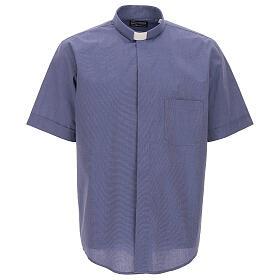 Chemise col clergy bleu fil à fil manches courtes s1