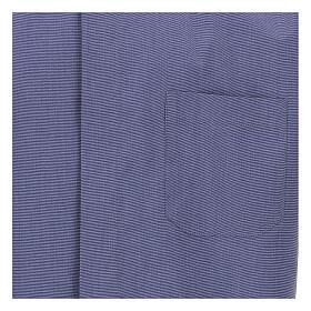 Chemise col clergy bleu fil à fil manches courtes s2