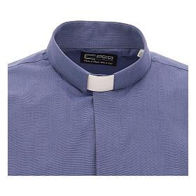 Chemise col clergy bleu fil à fil manches courtes s3