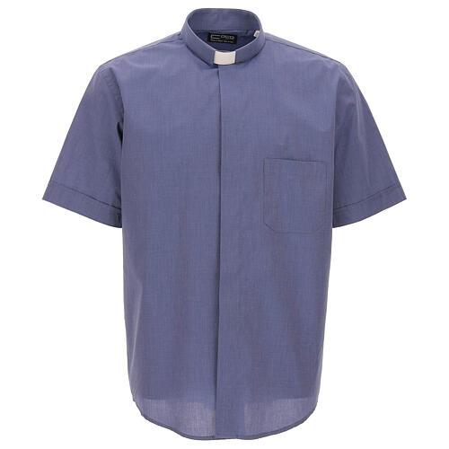 Chemise col clergy bleu fil à fil manches courtes 1