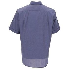 Camicia collo clergy blu fil a fil manica corta s4