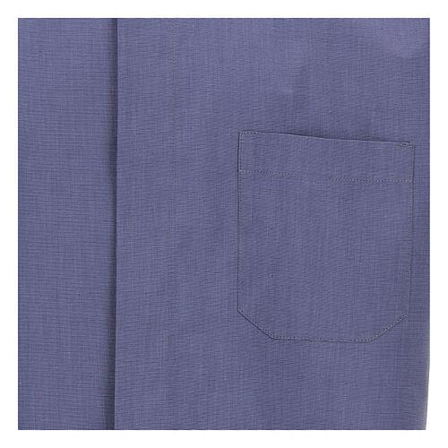 Camicia collo clergy blu fil a fil manica corta 2