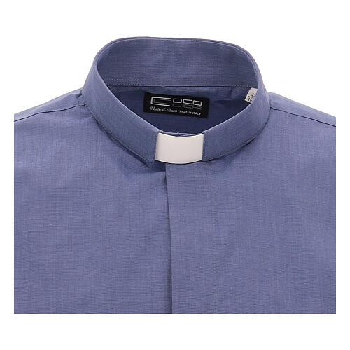 Camicia collo clergy blu fil a fil manica corta 3