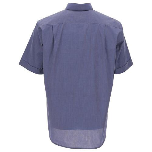 Camicia collo clergy blu fil a fil manica corta 4
