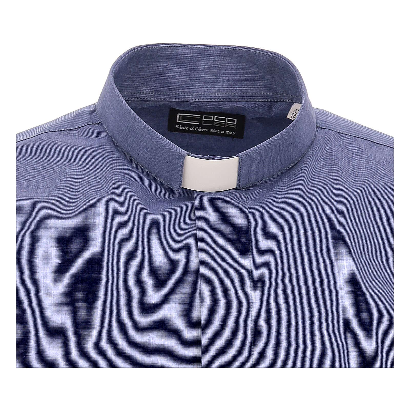 Koszula kapłańska niebieska fil a fil krótki rękaw 4