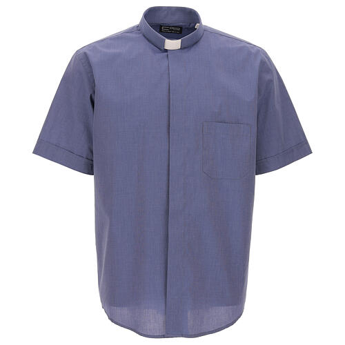 Camisa colarinho clergy azul escuro filafil manga corta 1