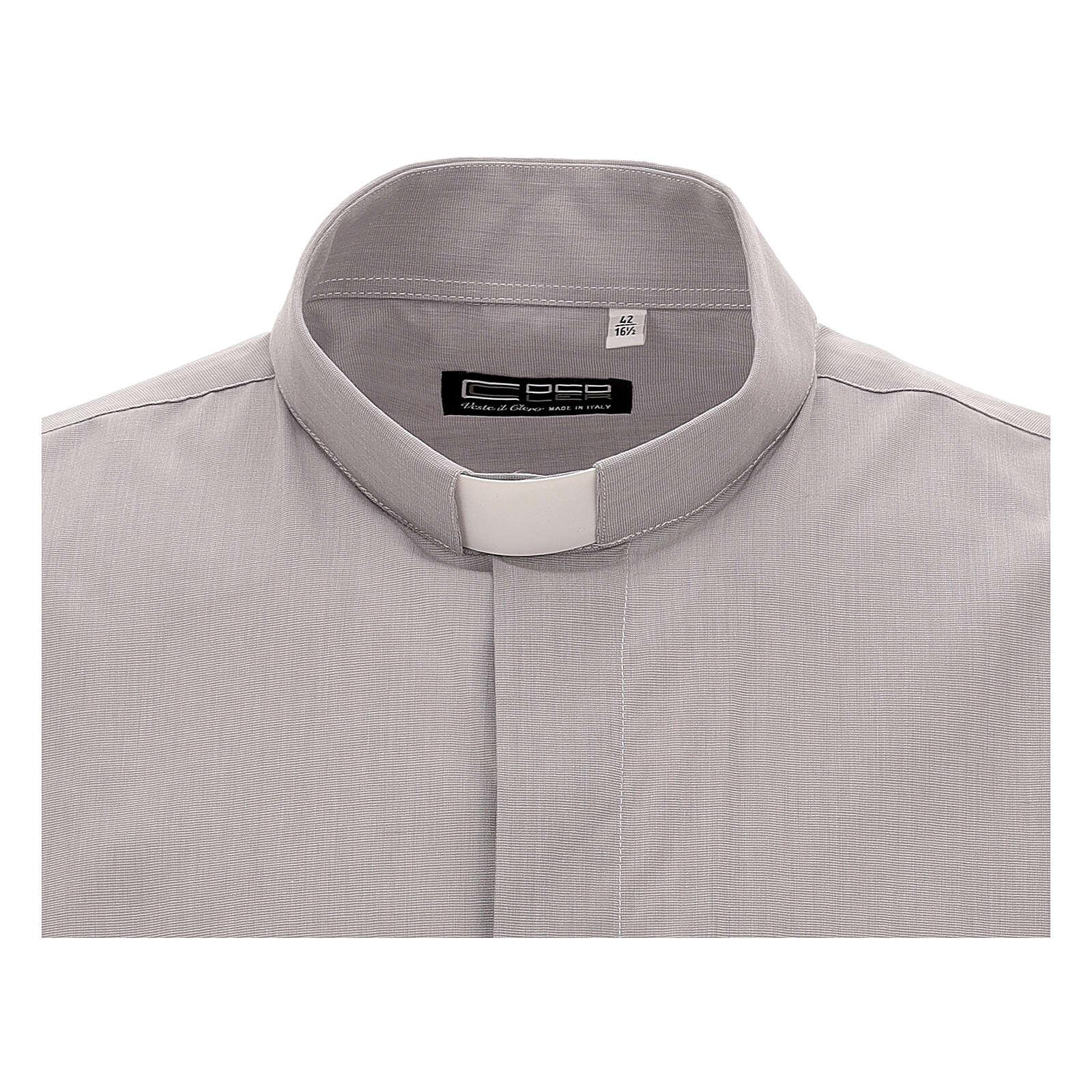 Camicia clergy grigio chiaro fil a fil m. corta 4