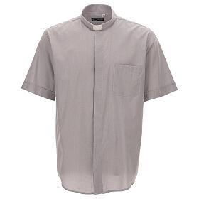 Camicia clergy grigio chiaro fil a fil m. corta s1