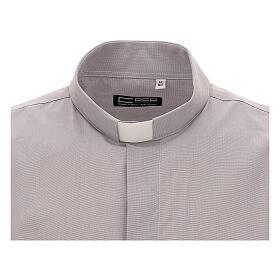 Camicia clergy grigio chiaro fil a fil m. corta s2