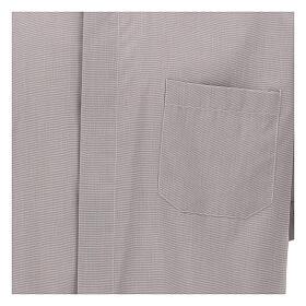 Camicia clergy grigio chiaro fil a fil m. corta s3