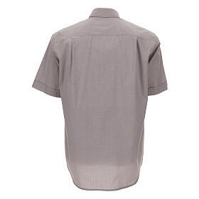 Camicia clergy grigio chiaro fil a fil m. corta s4