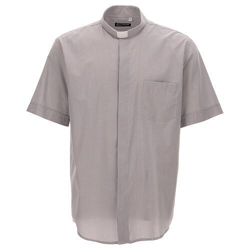 Camicia clergy grigio chiaro fil a fil m. corta 1