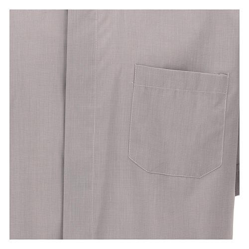 Camicia clergy grigio chiaro fil a fil m. corta 3
