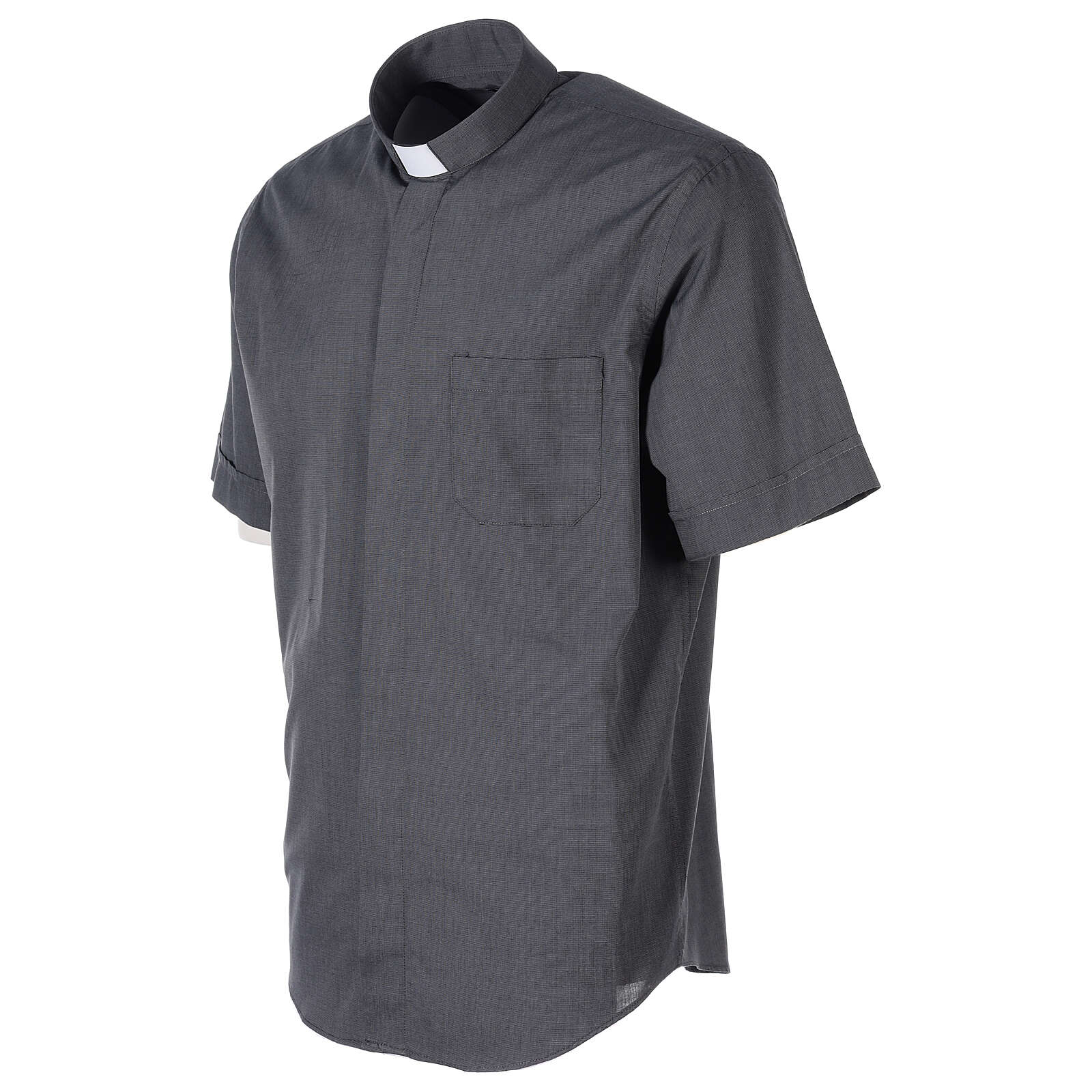 Camisa clergyman gris oscuro m. corta  4