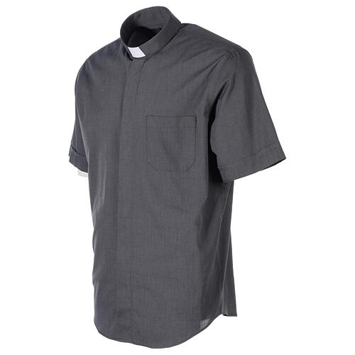 Camisa clergyman gris oscuro m. corta  3