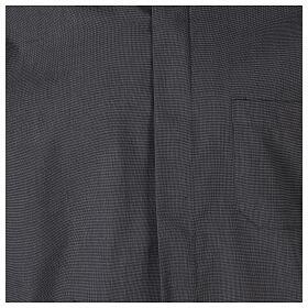Chemise clergyman gris foncé fil à fil manches courtes s2