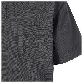 Chemise clergyman gris foncé fil à fil manches courtes s4