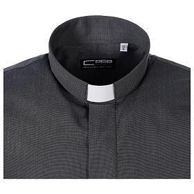 Chemise clergyman gris foncé fil à fil manches courtes s5