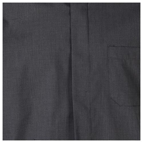 Chemise clergyman gris foncé fil à fil manches courtes 2
